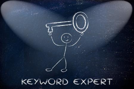 oversized: keyword expert, funny character holding oversized key