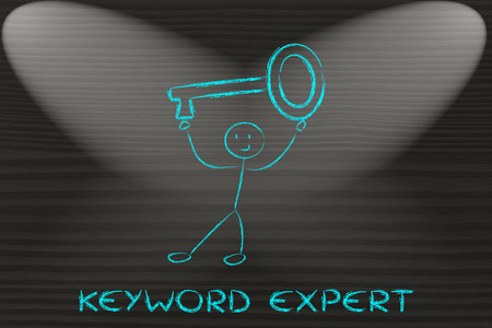 pageviews: keyword expert, funny character holding oversized key