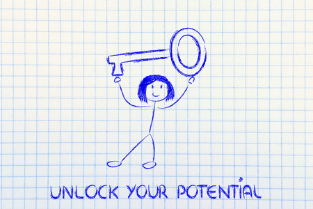 unlock your potential, funny girl holding oversized key