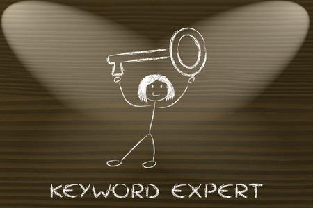 przewymiarowany: keyword expert, funny girl holding oversized key