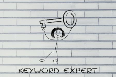 keyword expert, funny girl holding oversized key photo