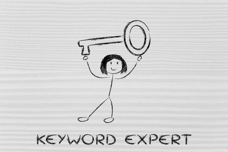 pageviews: keyword expert, funny girl holding oversized key