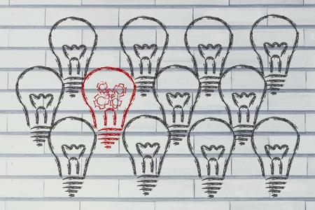 clones: average vs. uniqueness: one unique lightbulb in a crowd of clones
