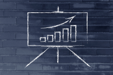 data on graph showing growth on whiteboard design Stock Photo