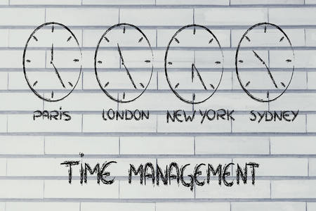 lag: time zone & clocks representing the role of time management in a global business Stock Photo