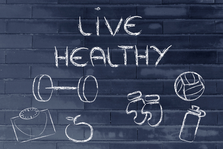 fitness equipment: live healthy and fit Stock Photo