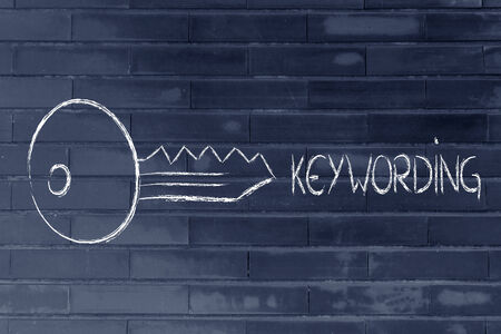 keywords: conceptual design of keywords and online searches Stock Photo