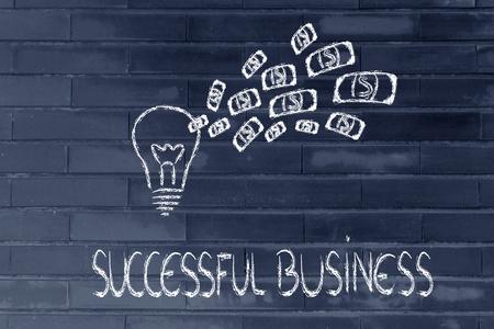 rentable: idea lucrativo y exitoso, bombilla con dinero explosi�n