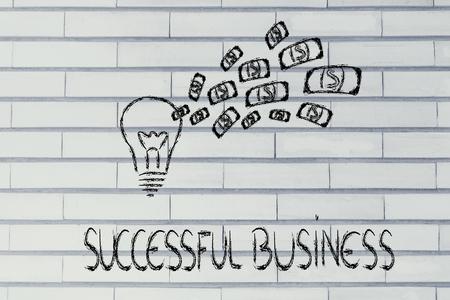 rentable: idea lucrativo y exitoso, con bombilla de dinero explosi�n