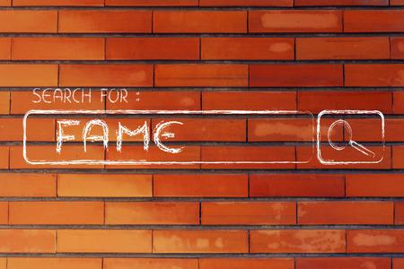 seeking fame, design of internet search bar on unusual surface