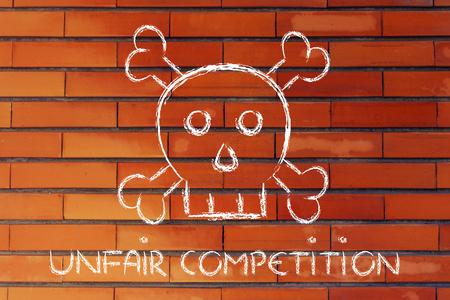 business survival: dangerous unfair competition threatening business survival, skull metaphor