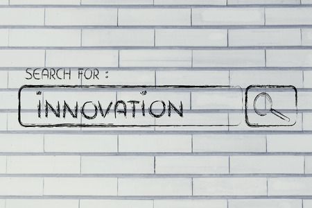 seeking innovation, design of internet search bar on unusual surface Stock Photo