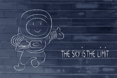 sky is the limit: funny astronaut saying the sky is the limit, metaphor for expressing your full potential Stock Photo