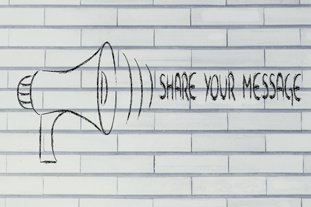 megaphone design, metaphor of sharing and spreading your message  photo