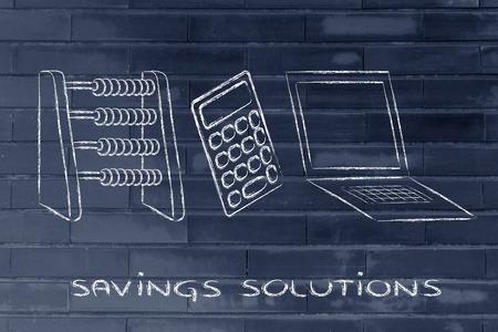establish: plan your savings or establish a budget, abacus, calculator and computer