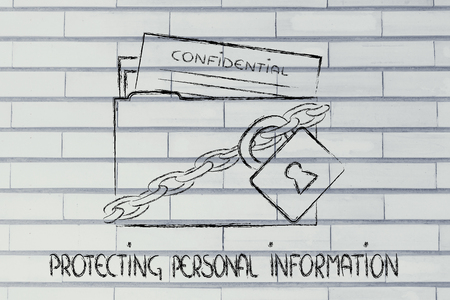 personal data: concept security of data and personal information, folder with lock and chains