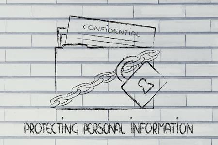 datos personales: concepto de la seguridad de datos e informaci�n personal, carpeta con candado y cadenas Foto de archivo