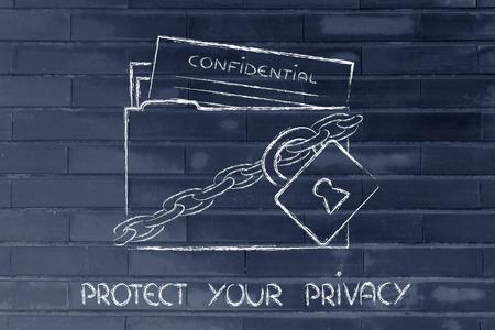 데이터 및 개인 정보의 개념적 보안, 자물쇠 및 체인이있는 폴더
