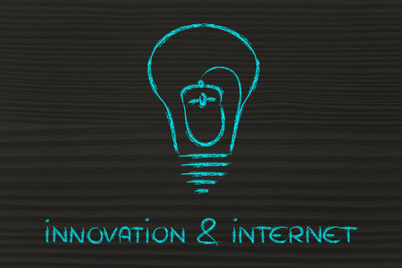 cpc: internet, ebusiness and innovation: a mouse inside lightbulb Stock Photo