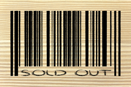 product  bar code design with marketing promotional offer sold out photo