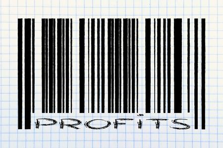 product  bar code design with profits writing photo