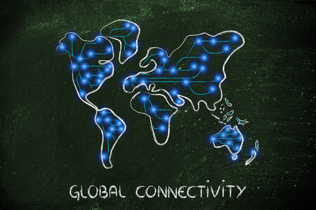 world connectivity: conceptual illustration of internet connecting the world