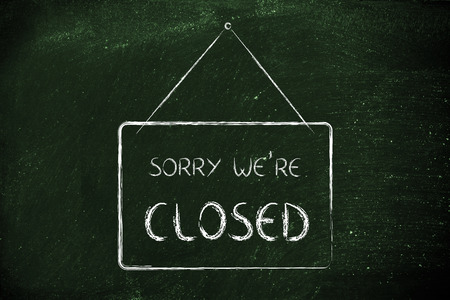 sorry: sale and retail: Sorry were closed shop sign Stock Photo