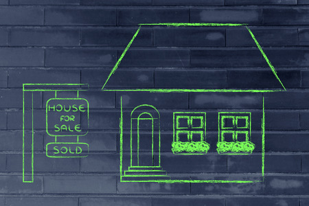 building sector: funny house sold, concept of buying or moving house