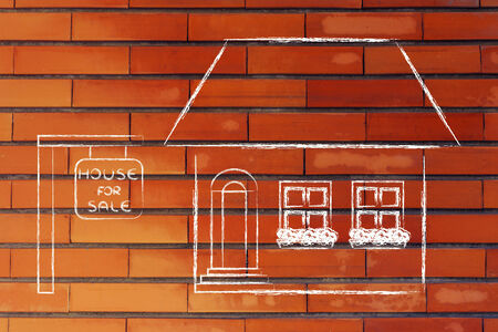 building sector: funny house for sale, concept of buying or moving house Stock Photo