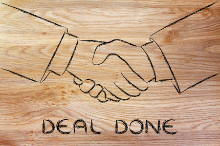 deal making: hands shaking illustration, making a deal or partnership