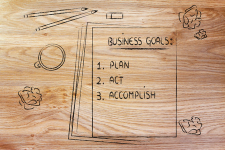 accomplish: office table with business goals list: plan, act, accomplish