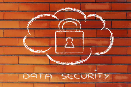 data security on cloud computing, cloud and security lock photo