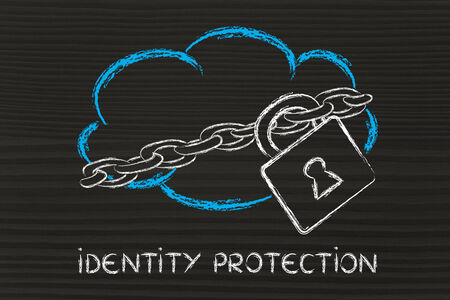 data security on cloud computing, cloud and security lock and chain photo