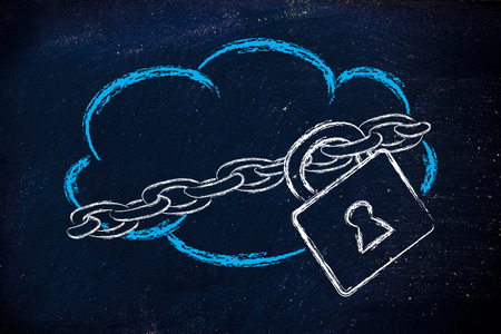 file sharing: data security on cloud computing, cloud and security lock and chain Stock Photo