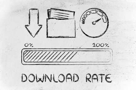 adsl: download transfer speed: speedometer and progress bar Stock Photo