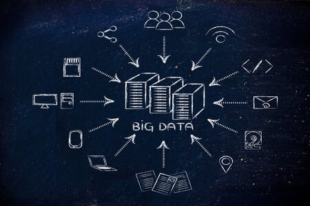 data storage device: concept of big data processing and storage: users, devices and file transfers Stock Photo