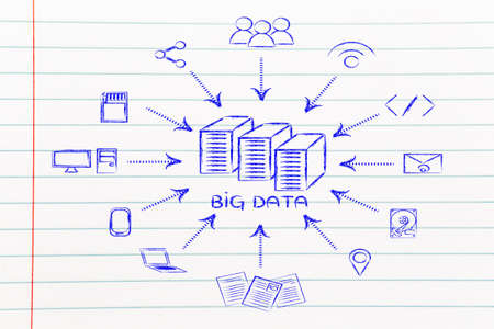 concept of big data processing and storage: users, devices and file transfers Stock Photo