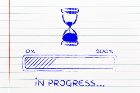 processing speed: hourglass design and progress bar loading, pc process in progress