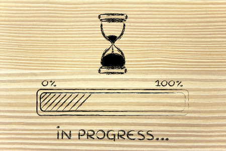 hourglass design and progress bar loading, pc process in\ progress