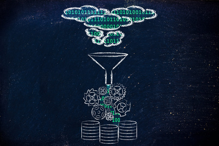 datos personales: concepto de gran procesamiento y almacenamiento de datos: Nube de la base de datos Foto de archivo