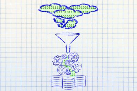Concept de grande transformation et de stockage des données: la base de données cloud Banque d'images - 33011351