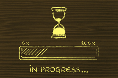 hourglass design and progress bar loading, pc process in progress
