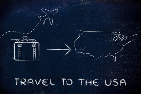 time fly: plane air route and luggage, travel to the USA Stock Photo