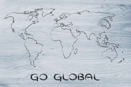 illustration with world map, global business and worldwide opportunities illustration