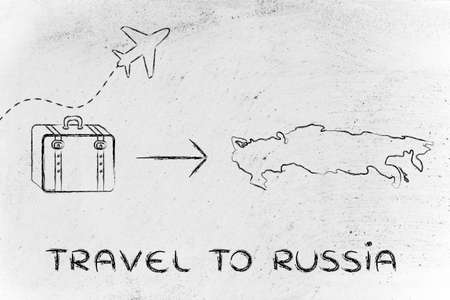 take time off: plane air route and luggage, travel to Russia