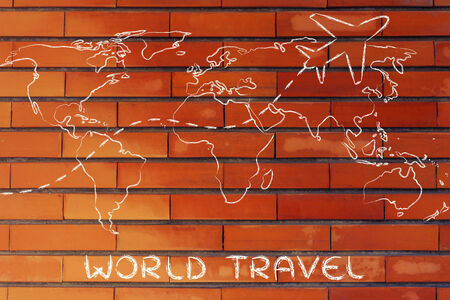 plane air route and world map, global travel and business photo