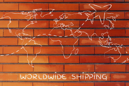 plane air route and world map, worldwide shipping photo