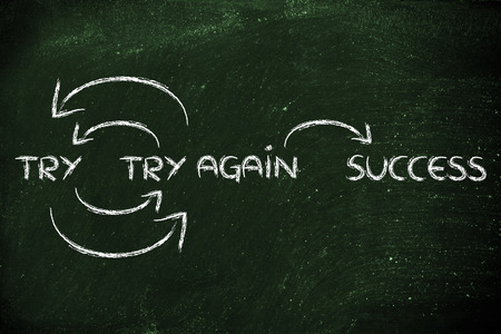 try: if you try and fail, try again until success Stock Photo