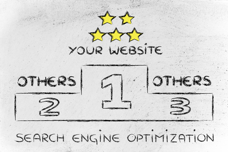 pageviews: conceptual podium design about search engine optimization