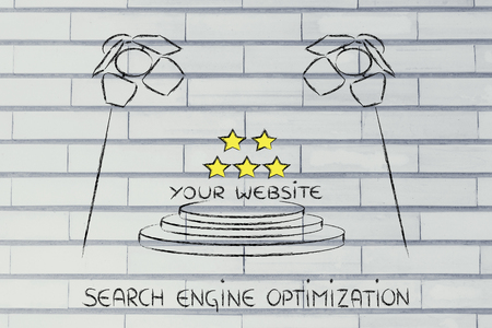 pageviews: conceptual spotlight illustration about search engine optimization Stock Photo